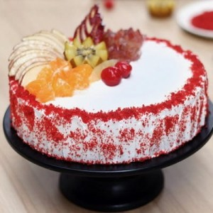 Red Velvet Fruit Gateau Cake