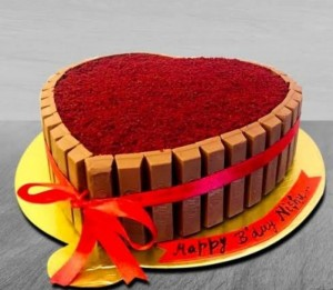 Kit Kat Red Velvet Heart Cake